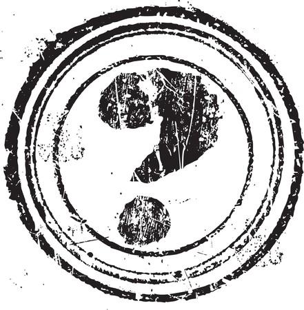 vintage grunge image: Forma di timbro grunge astratto con il simbolo di punto interrogativo