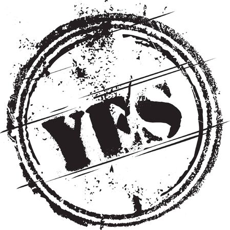yes: Abstract grunge rubber stamp with the text yes