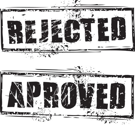 denied: Abstract grunge rubber stamp with the text rejected and approved