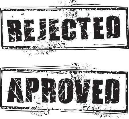 denied: Sello de caucho de grunge abstracto con el texto rechazado y aprobado  Vectores