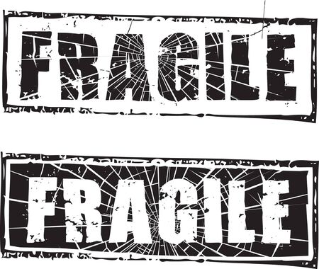 Abstract grunge rubber stamp with the text fragile