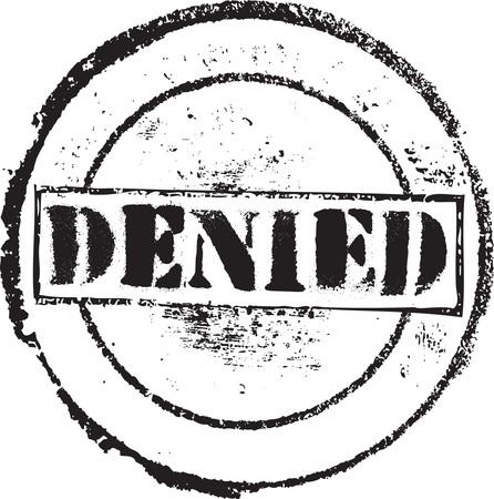 denied: Sello de caucho de grunge abstracto con el texto que se ha denegado