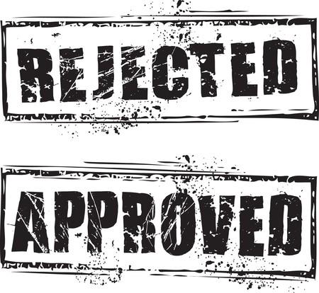 Grunge astratta timbro con il testo respinto e approvato