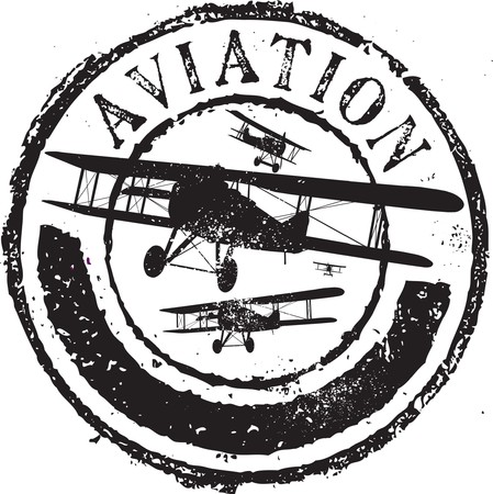 Abstract grunge rubber stamp with the text aviation