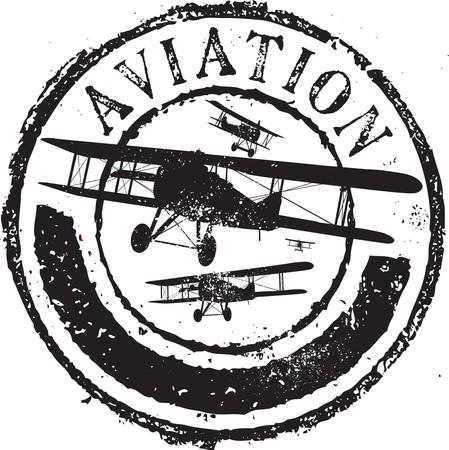 grunge wings: Astratto timbro di gomma grunge con l'aviazione testo