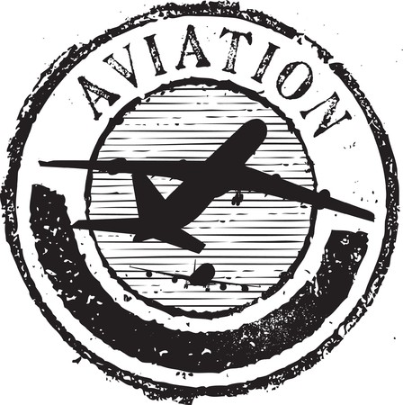 paper airplane: Abstract grunge rubber stamp with the text aviation