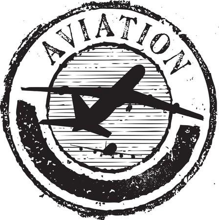 avioncitos: Sello de caucho de grunge abstracto con la aviaci�n de texto Vectores