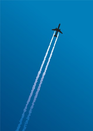 Jet trail on blue background Illustration