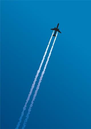 Sentiero di getto su sfondo blu