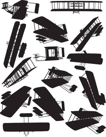 Early Flight, Wright silhouettes Vector