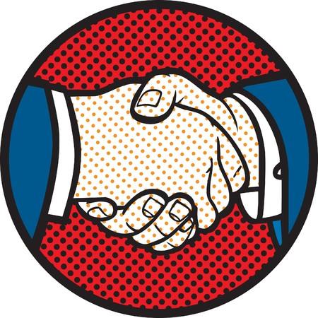 saluta: Illustrazione di handshake stile retr� Vettoriali