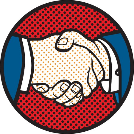 greet: Retro style handshake illustration Illustration