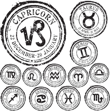 aries: Conjunto de sello de caucho de grunge abstracto con signo zodiacal