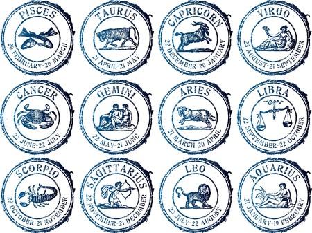 virgo: Conjunto de sello de caucho de grunge abstracto con signo zodiacal
