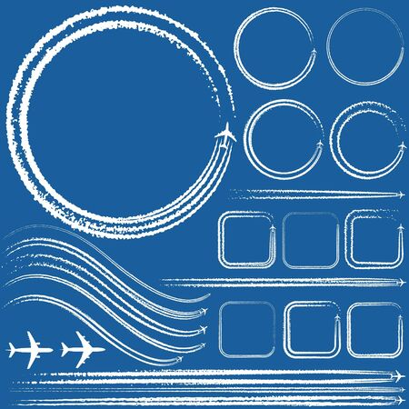 illustration of a design elements of aircraft with smoke trails  イラスト・ベクター素材
