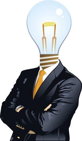 Human heads with Bulb symbol.   イラスト・ベクター素材