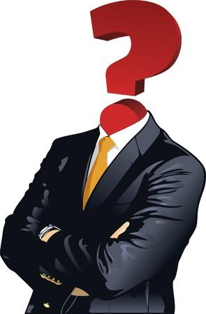 doute: La t�te de l'homme avec le symbole point d'interrogation.