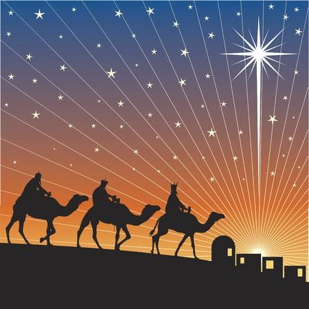 star of bethlehem: Classic three magic scene and shining star of Bethlehem. Illustration