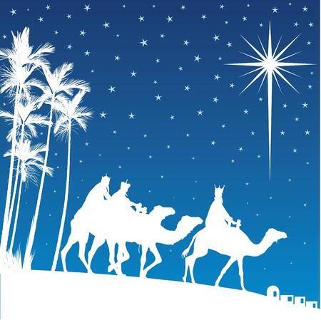 betlehem: Classic drei magischen Szene und leuchtender Stern von Bethlehem.