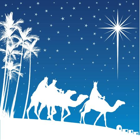 bethlehem: Classic three magic scene and shining star of Bethlehem. Illustration