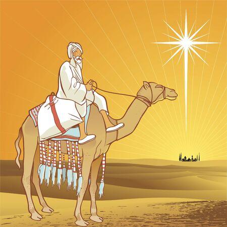 Stralende ster van Bethlehem.  Vector Illustratie