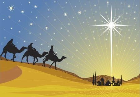 Classic three magic scene and shining star of Bethlehem.