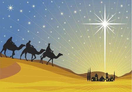 Classic three magic scene and shining star of Bethlehem. Stock Vector - 8045224