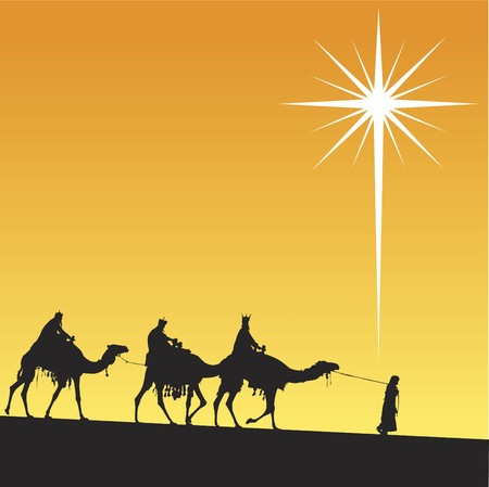 Classic three magic scene and shining star of Bethlehem.  イラスト・ベクター素材