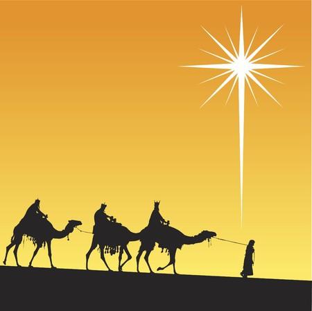 Klassieke drie magic scène en stralende ster van Bethlehem.
