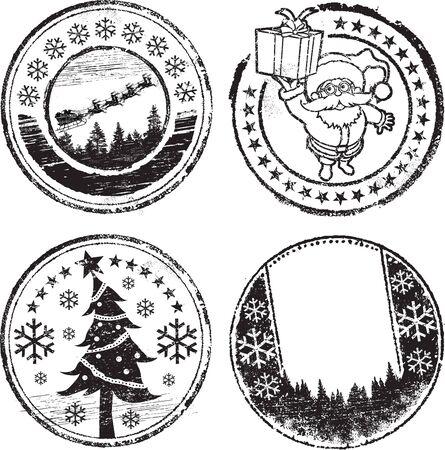 Christmas stamp set Stock Vector - 8045316