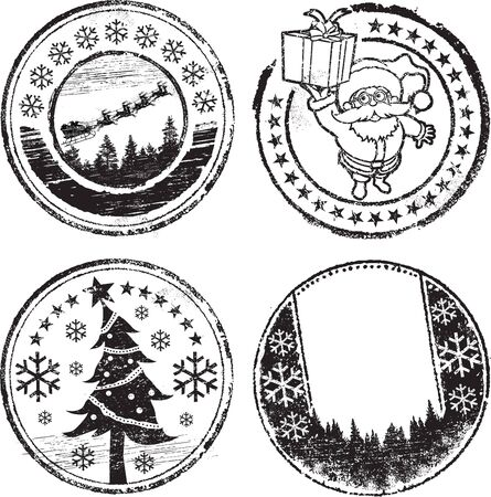 Christmas stamp set Vector Illustration