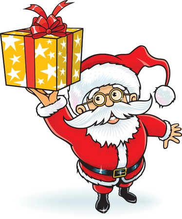 Cheerful Santa Claus giving a Christmas gift box Illustration