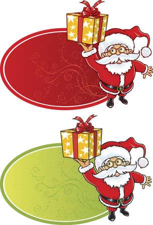 Allegro Babbo Natale, dando una confezione regalo di Natale