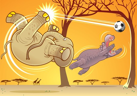 Elephant and hippopotamus playing football Stock Vector - 8045305