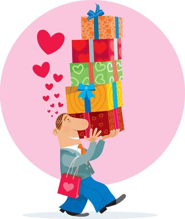 selling: A man carrying presents