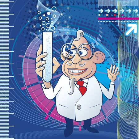 Cartoon scientist character and abstract background