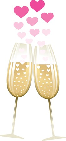 Two glasses with heart illustration