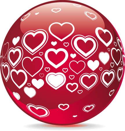 Sfera con simboli di forma di cuore