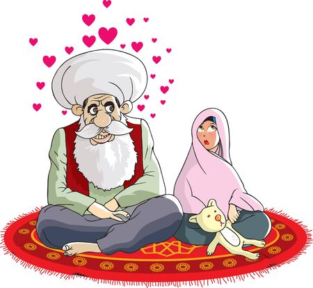 petite fille musulmane: Petite fille musulmane � la c�r�monie de mariage  Illustration