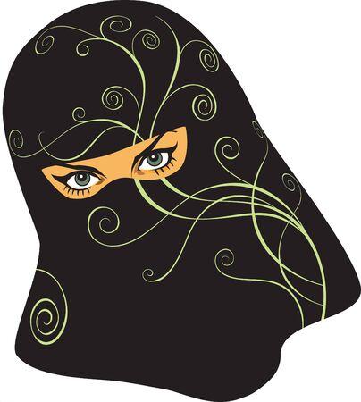 burka: Donna araba in un yashmak