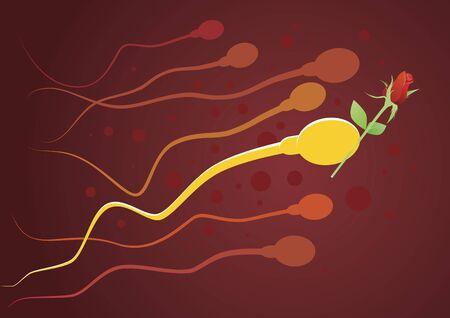 Gentleman sperma. illustratie van zaadcellen lopen naar het ei