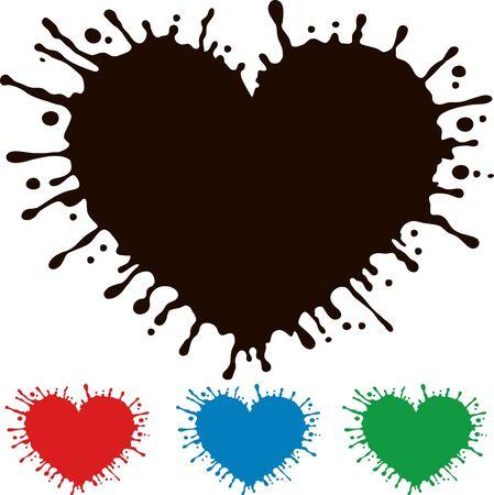 splashing: Painted heart with splashing. I�nclude alternative colors