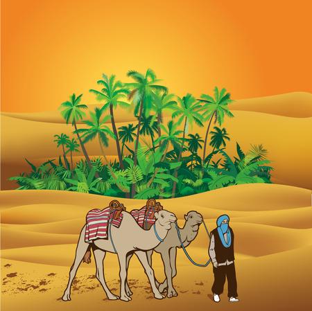 marokko: Sahara woestijn illustratie