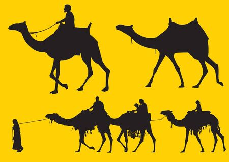 Men riding and pulling camels silhouette Illustration