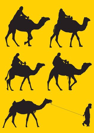 sahara: Men riding and pulling camels silhouette Illustration