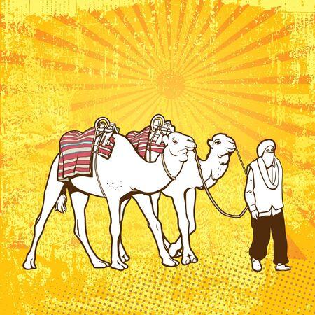 An Arabian man pulling camels Stock Vector - 9755654