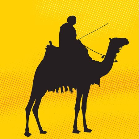 Man riding a camel silhouette