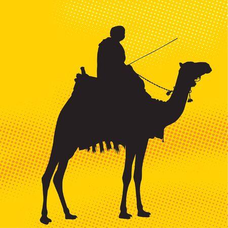 Uomo cavallo una silhouette cammello Vettoriali