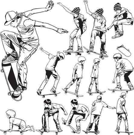niño en patines: Ilustraciones del monopatín
