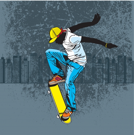 patinar: Un adolescente jugando monopatín en la calle Vectores